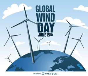 Dia Mundial do Vento com design moinhos de vento