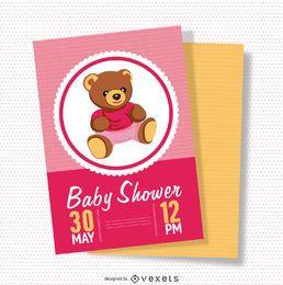 Cartão cor-de-rosa do chá de fraldas feminino