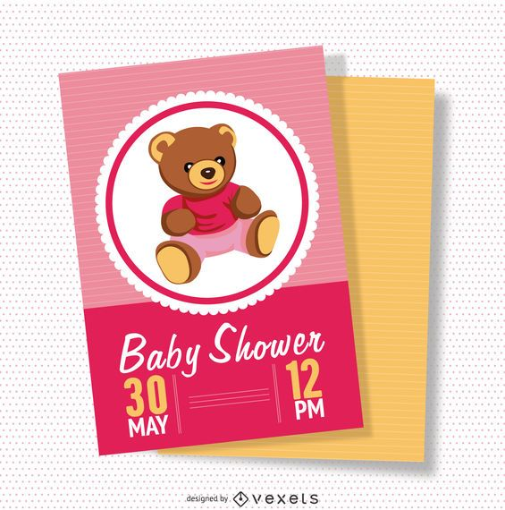 Tarjeta de baby shower rosa femenina