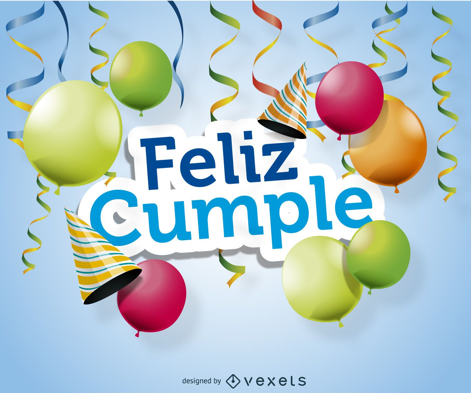 Feliz cumple poster design Vector download