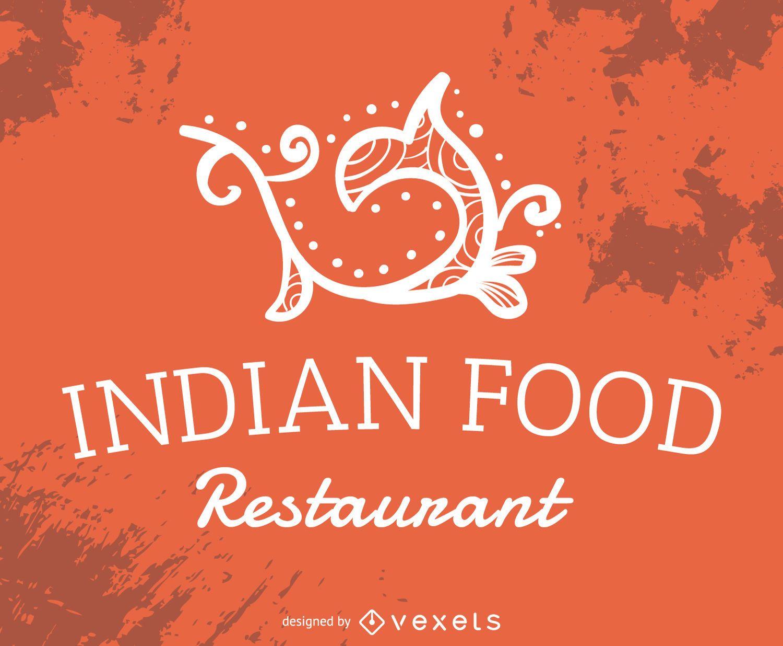 Indio etiqueta restaurante de comida - Descargar vector