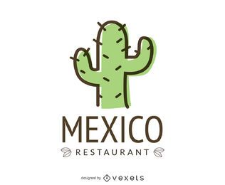 Logotipo de comida mexicana com cacto