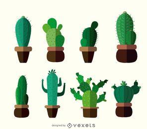 Flat cactus drawings