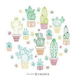 Ilustración de contorno de cactus