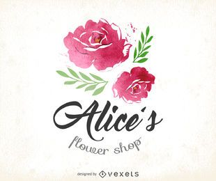 Watercolor flower shop logo