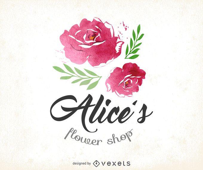 Logotipo da loja de flores em aquarela