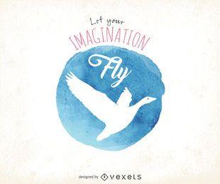 Cartel imaginación acuarela