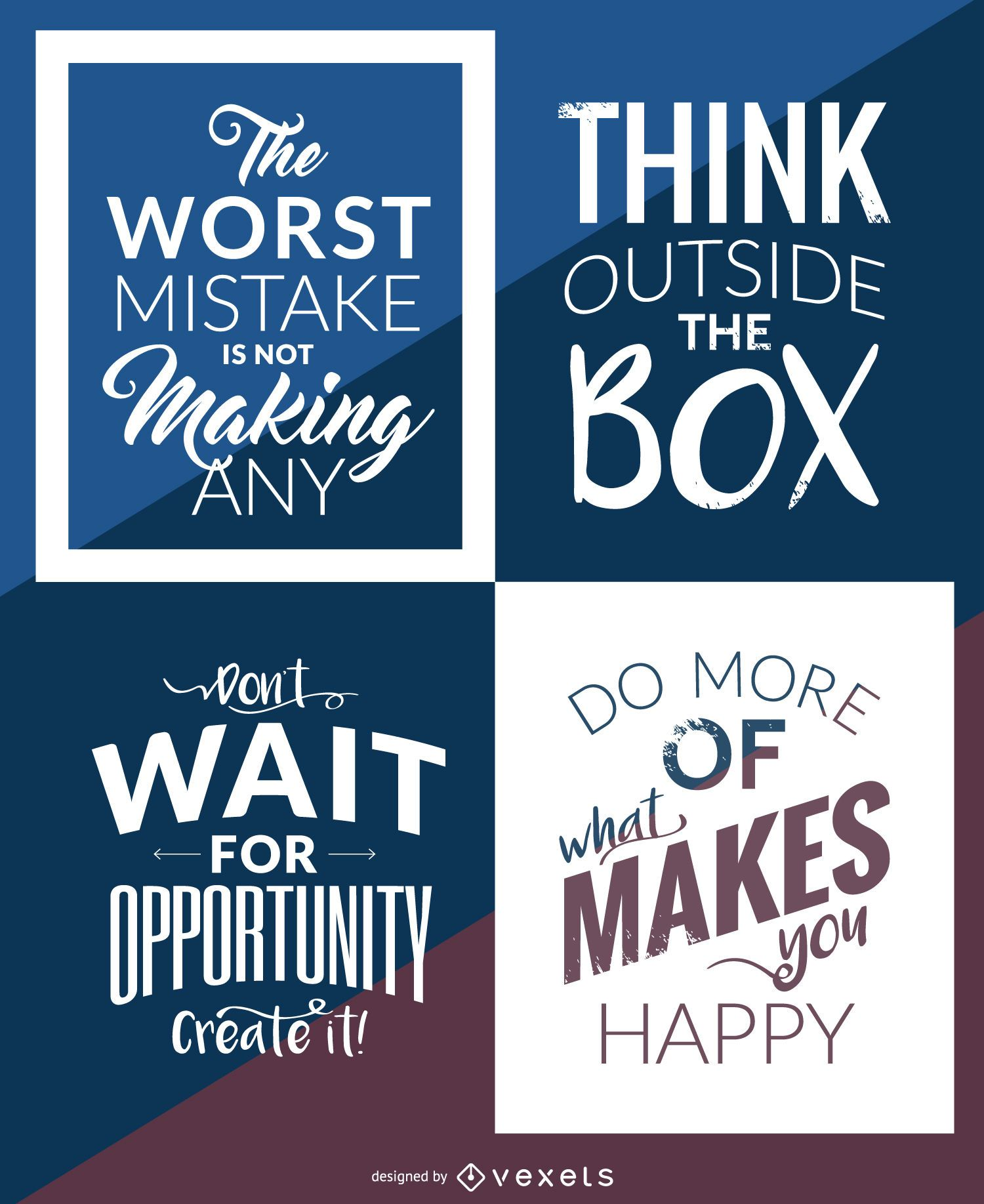 Hipster Motivational Poster Set Vector Download