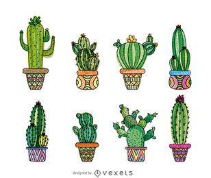Conjunto de cactus dibujado a mano
