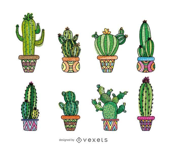 Hand gezeichneter Kaktus eingestellt