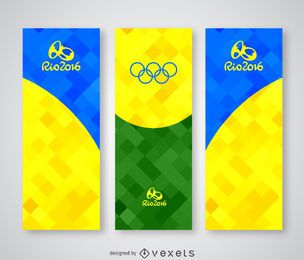 Bunte polygonale Fahne Rio 2016