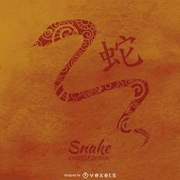 Ilustración de la serpiente del zodiaco chino