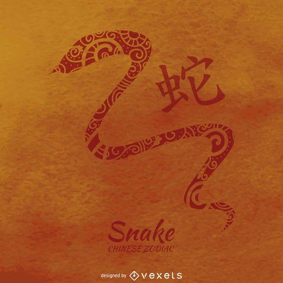 Chinese zodiac snake illustration