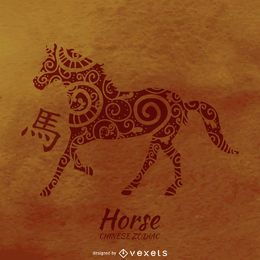 Desenho de cavalo do zodíaco chinês