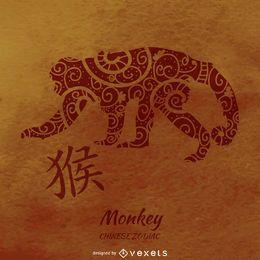 Ilustración de mono del zodiaco chino
