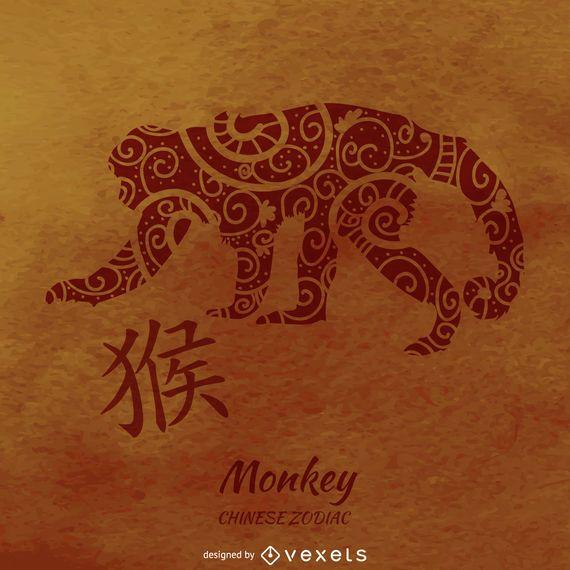 Ilustración del mono zodiaco chino