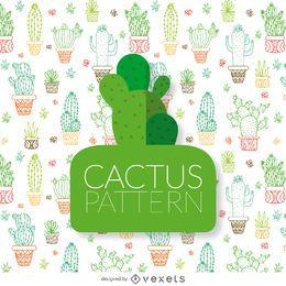 Dibujado a mano patrón de contornos de cactus