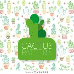 Patrón de contornos de cactus dibujados a mano