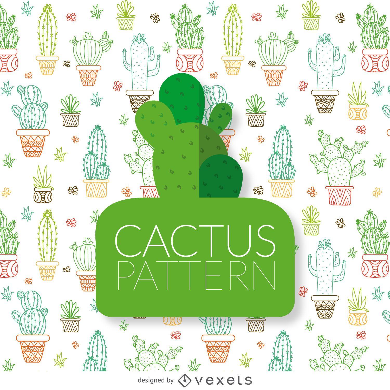 Patr?n de contornos de cactus dibujados a mano