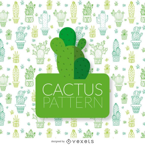Cactus outline illustration pattern