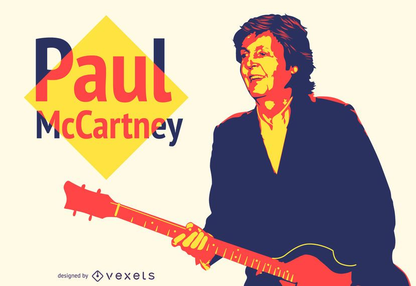 Ilustración colorida de Paul McCartney