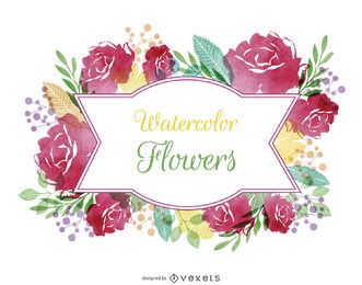etiqueta de la flor de la acuarela