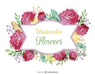 Rótulo de flores em aquarela