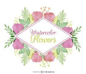 Aquarela emblema floral