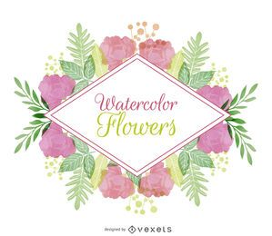 Watercolor floral badge