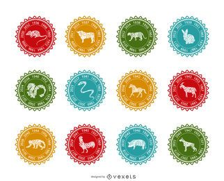 Chinese zodiac label set