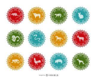 Conjunto de etiquetas do Zodíaco Chinês
