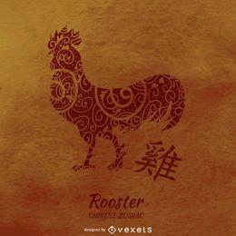 Chinesische Horoskop-Hahnzeichnung