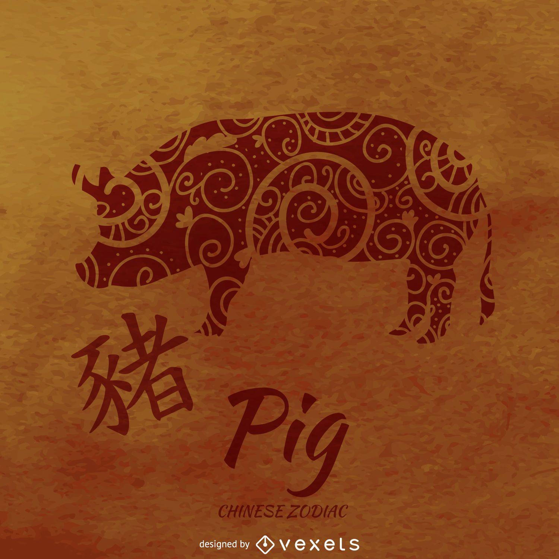 Porco ilustrado do zodíaco chinês