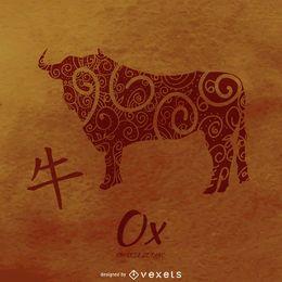 Ochse, die chinesisches Horoskop zeichnet