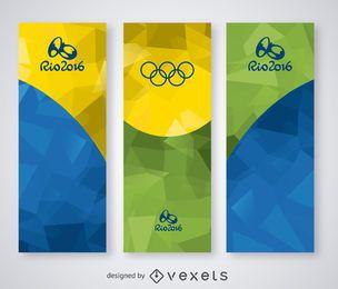 Rio 2016 polygonal banner set