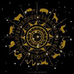 Ilustração do círculo do Zodíaco Chinês