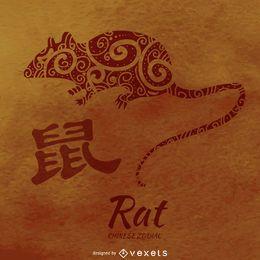 Ilustración de rata del zodiaco chino