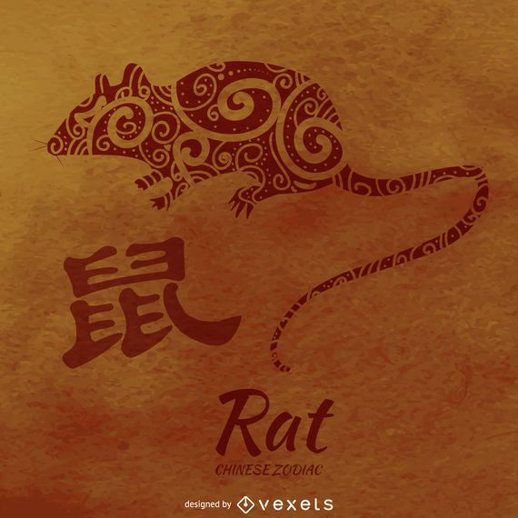 Chinese zodiac rat illustration