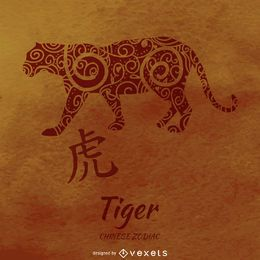 Chinese zodiac with tiger drawing