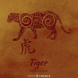Chinesischer Tierkreis mit Tigerzeichnung