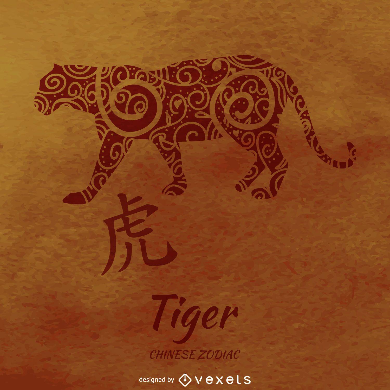 Zodiaco chino con dibujo de tigre