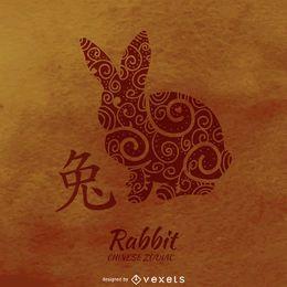 Coelho desenhando horóscopo chinês