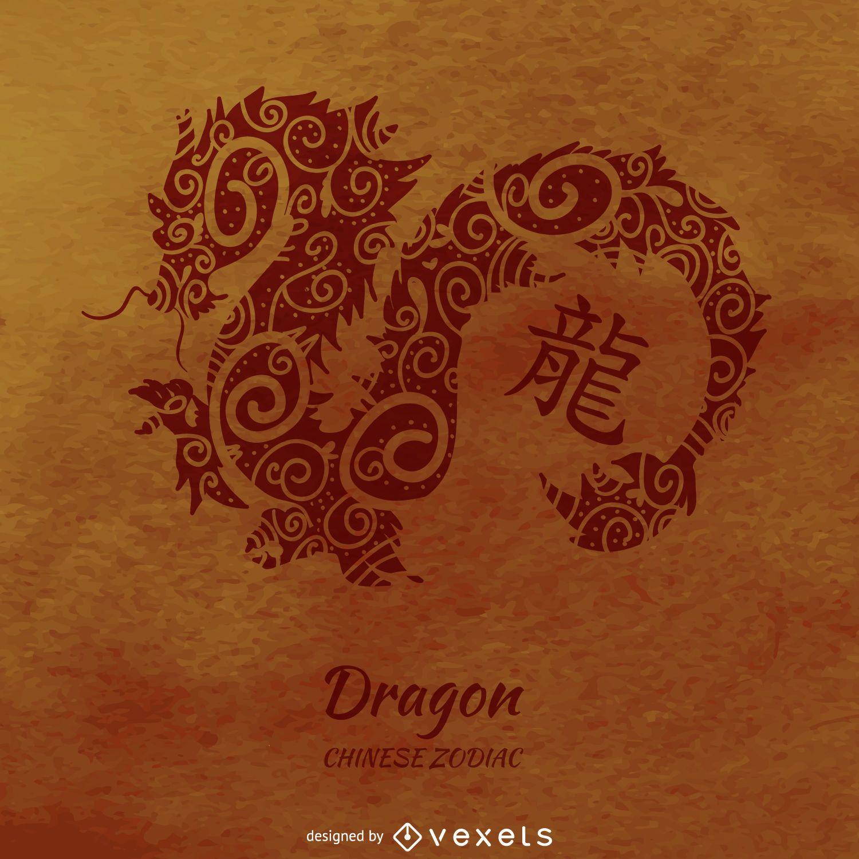 Desenho de dragão de horóscopo chinês