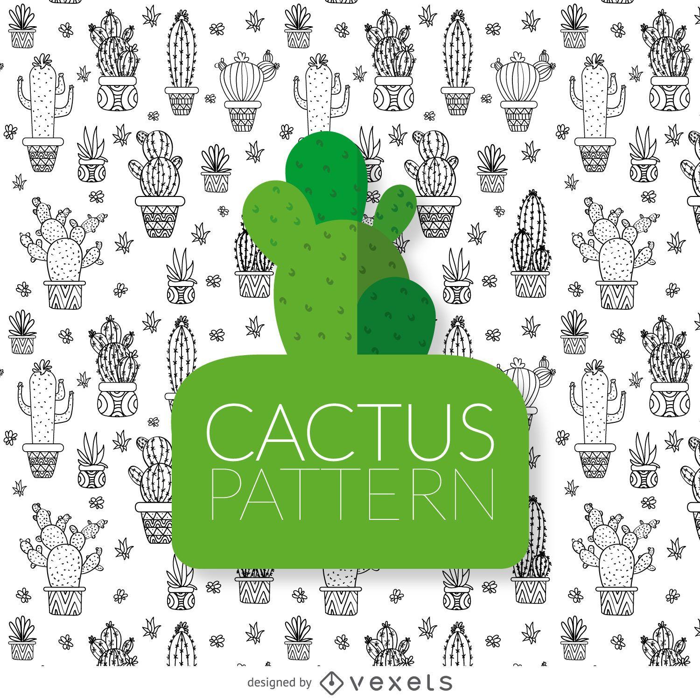 Patrón de dibujo de cactus