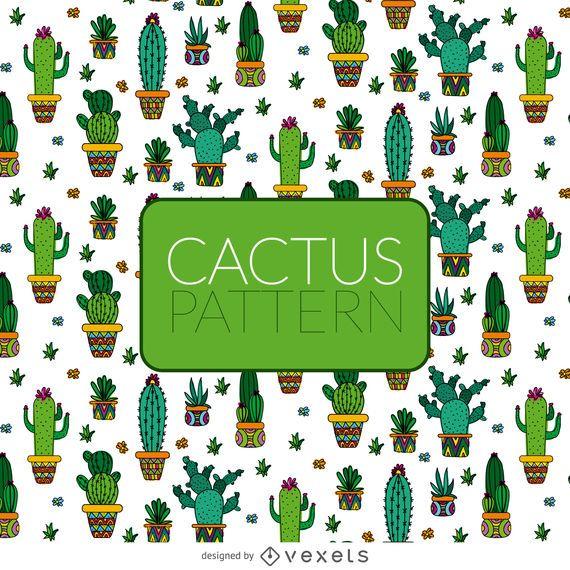 Patrón de cactus ilustrado