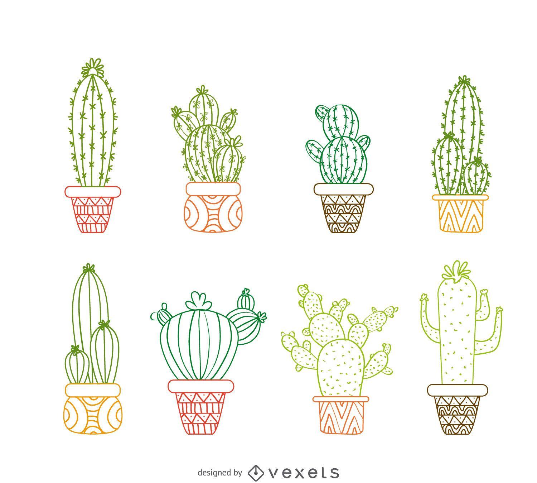 Conjunto de desenhos de contorno de cacto