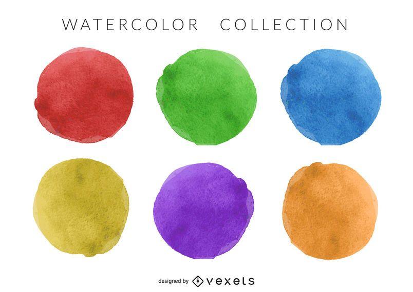 Watercolor circle set