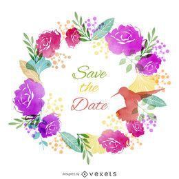 Speichern Sie das Datums-Aquarelletikett