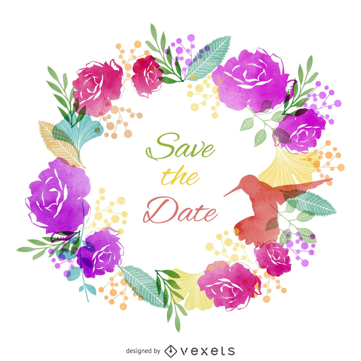 Save The Date Watercolor Label Vector Download