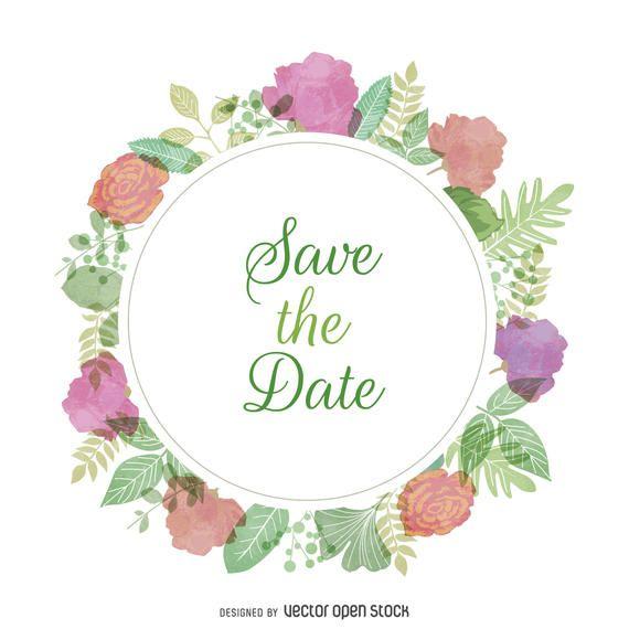 Sinal de convite de casamento em aquarela